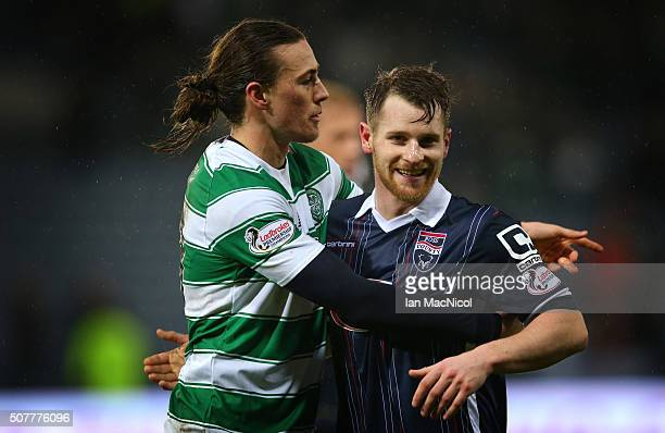 Jackson Irvine of Ross County celebrates at full time with Jonathan Franks of Ross County during the Scottish League Cup Semi final match between...