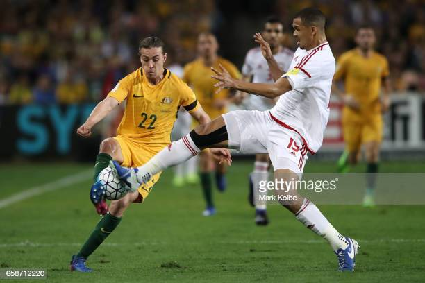 Jackson Irvine of the Socceroos and Ismail Ahmed of the United Arab Emirates compete for the ball during the 2018 FIFA World Cup Qualifier match...