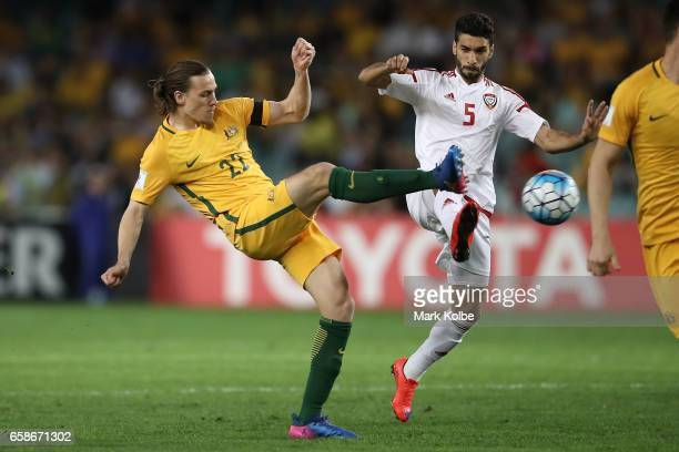 Jackson Irvine of the Socceroos and Tariq Ahmed of the United Arab Emirates compete for the ball during the 2018 FIFA World Cup Qualifier match...