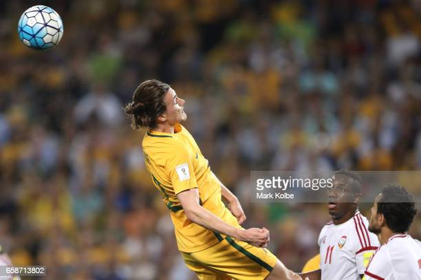 Jackson Irvine of the Socceroos heads the ball during the 2018 FIFA World Cup Qualifier match between the Australian Socceroos and United Arab...