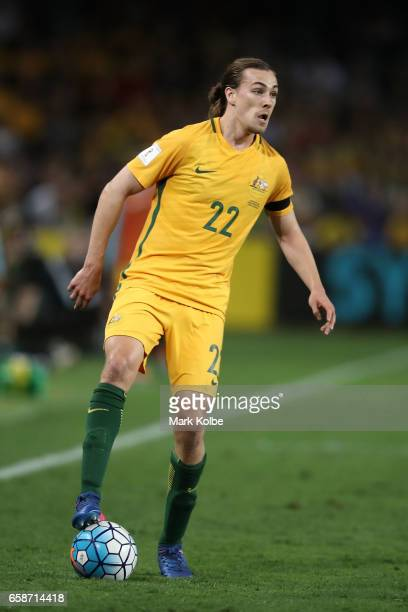 Jackson Irvine of the Socceroos looks to pass during the 2018 FIFA World Cup Qualifier match between the Australian Socceroos and United Arab...