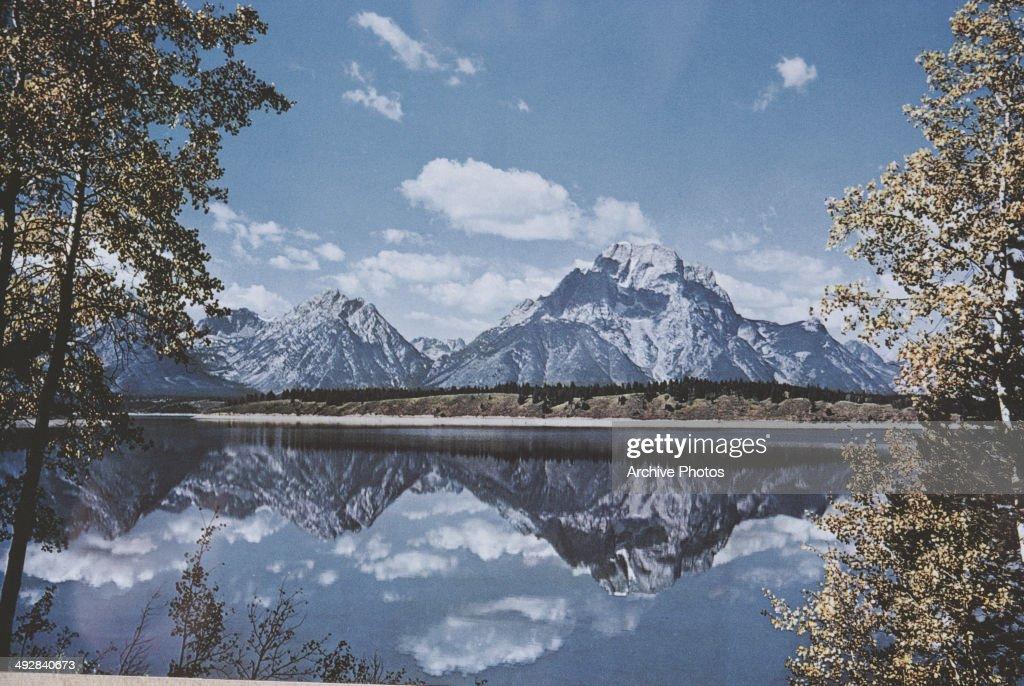Jackson Lake and Mount Moran in the Grand Teton National Park Wyoming USA 1971