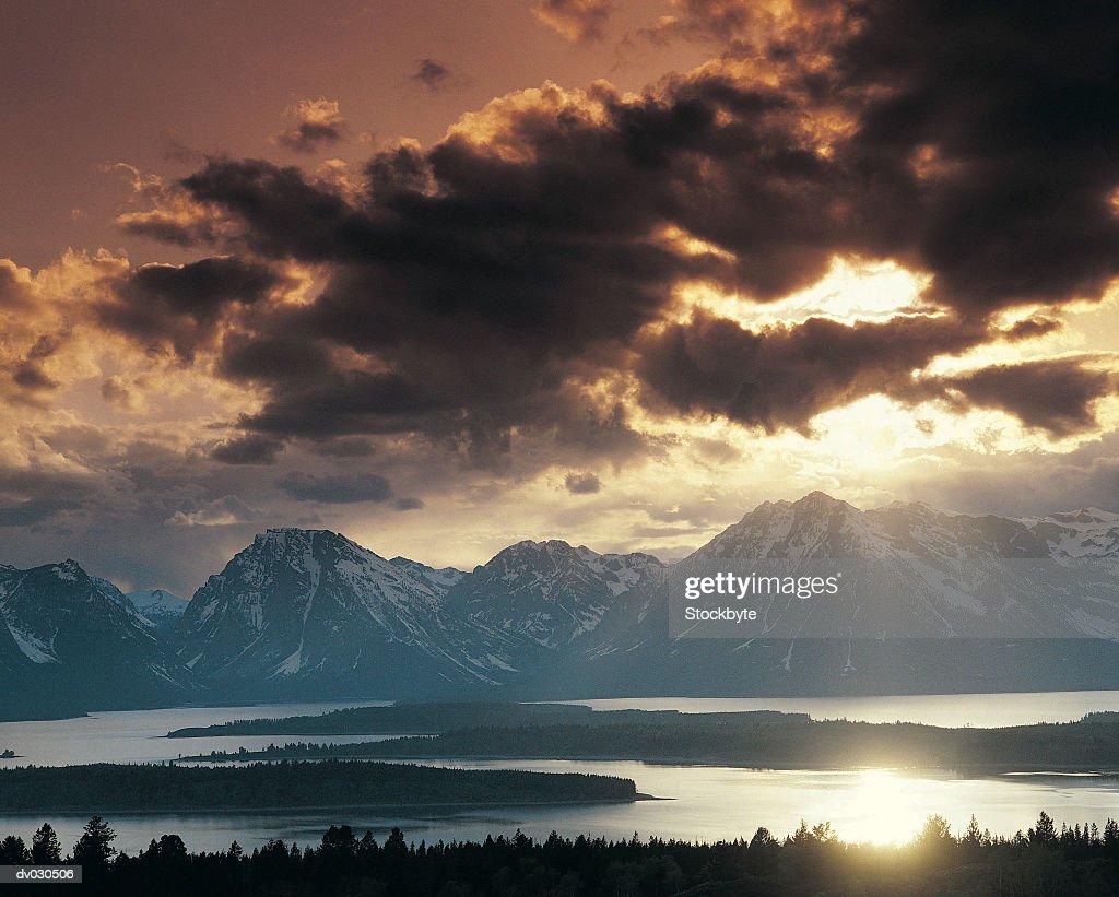 Jackson Lake and the Grand Tetons, Grand Teton National Park, Wyoming, USA : Stock Photo
