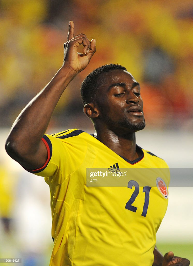 Jackson Martinez #21 of Colombia celebrates after scoring a goal in the first half against Guatemala at Sun Life Stadium on February 6, 2013 in Miami, Florida. AFP PHOTO / Gaston de Cardenas