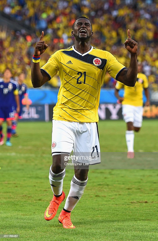 Jackson Martinez of Colombia celebrates scoring his team's second goal during the 2014 FIFA World Cup Brazil Group C match between Japan and Colombia at Arena Pantanal on June 24, 2014 in Cuiaba, Brazil.