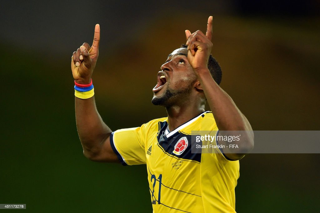 Jackson Martinez of Colombia celebrates scoring his team's third goal during the 2014 FIFA World Cup Brazil Group C match between Japan and Colombia at Arena Pantanal on June 24, 2014 in Cuiaba, Brazil.