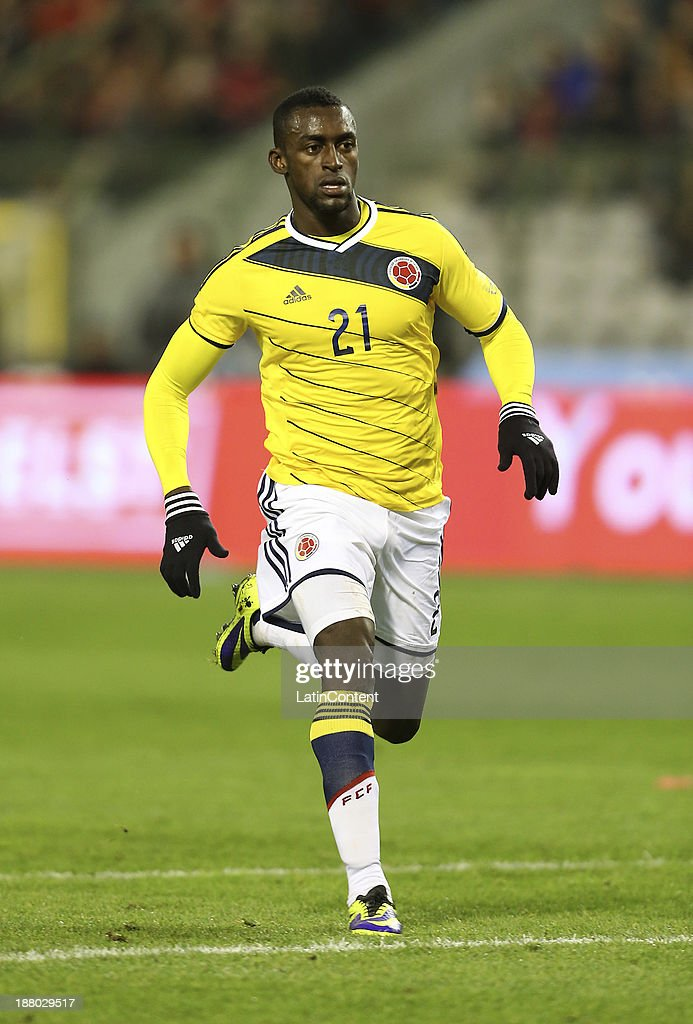Jackson Martinez of Colombia runs during a FIFA Friendly match between Colombia and Belgium at Roi Baudouin Stadium on November 13, 2013 in Brussels, Belgium.