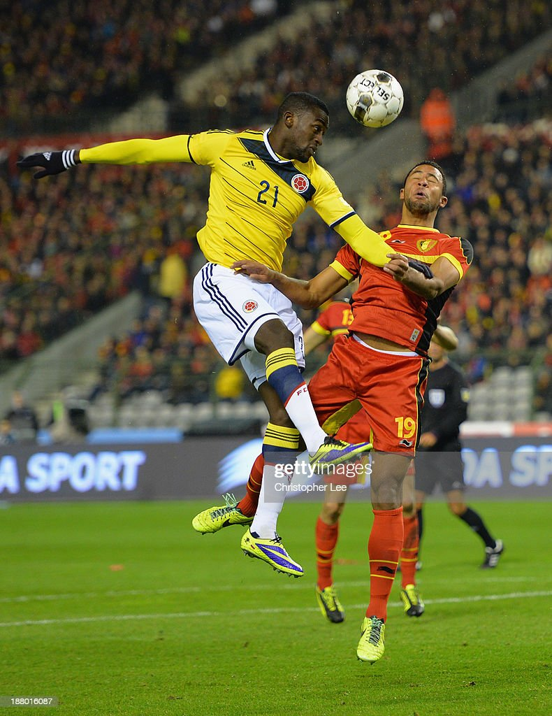 Jackson Martinez of Colombia wins the header over Mousa Dembele of Belgium during the International Friendly match between Belgium and Colombia at King Baudouin Stadium on November 14, 2013 in Brussels, Belgium.