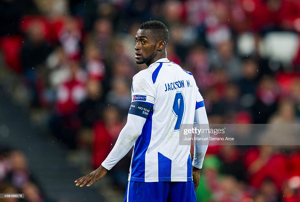 Jackson Martinez of FC Porto reacts during the UEFA Champions League Group H match between Athletic Club and FC Porto at San Mames Stadium on November 5, 2014 in Bilbao, Spain.