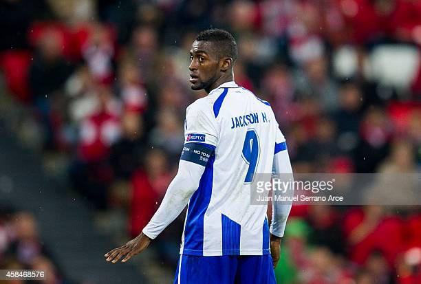 Jackson Martinez of FC Porto reacts during the UEFA Champions League Group H match between Athletic Club and FC Porto at San Mames Stadium on...