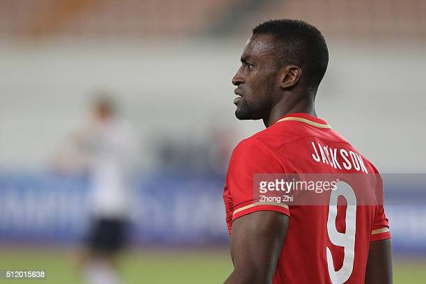 Jackson Martinez of Guangzhou Evergrande looks on during AFC Champions League Group H match between Guangzhou Evergrande FC and Pohang Steelers at...