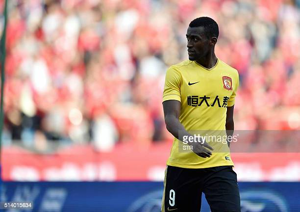 Jackson Martinez of Guangzhou Evergrande looks on during the Chinese Super League football match against Chongqing Lifan in Chongqing on March 6 2016...