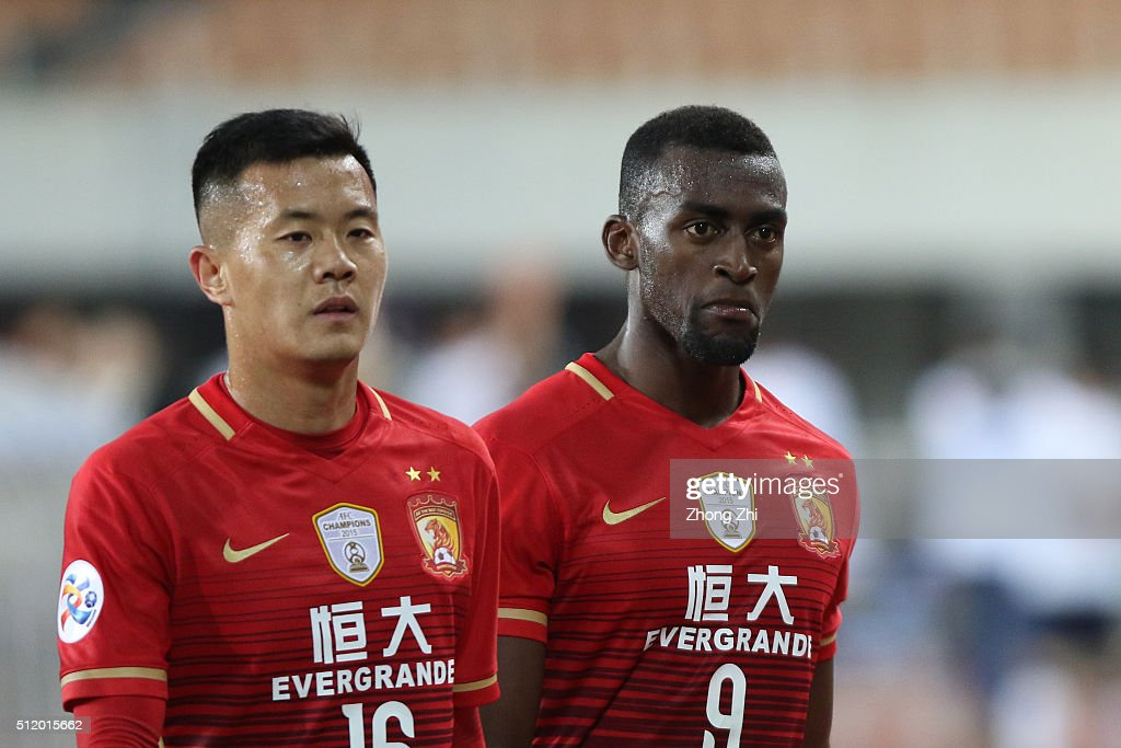 Jackson Martinez of Guangzhou Evergrande reacts during AFC Champions League Group H match between Guangzhou Evergrande FC and Pohang Steelers at Guangzhou Tianhe Sport Center on February 24, 2016 in Guangzhou, China.