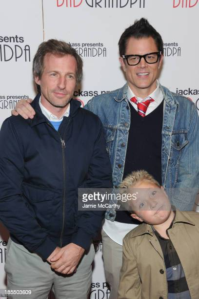 Jackson Nicoll poses with Spike Jonze and Johnny Knoxville at the 'Jackass Presents Bad Grandpa' New York Special Screening at Sunshine Landmark on...