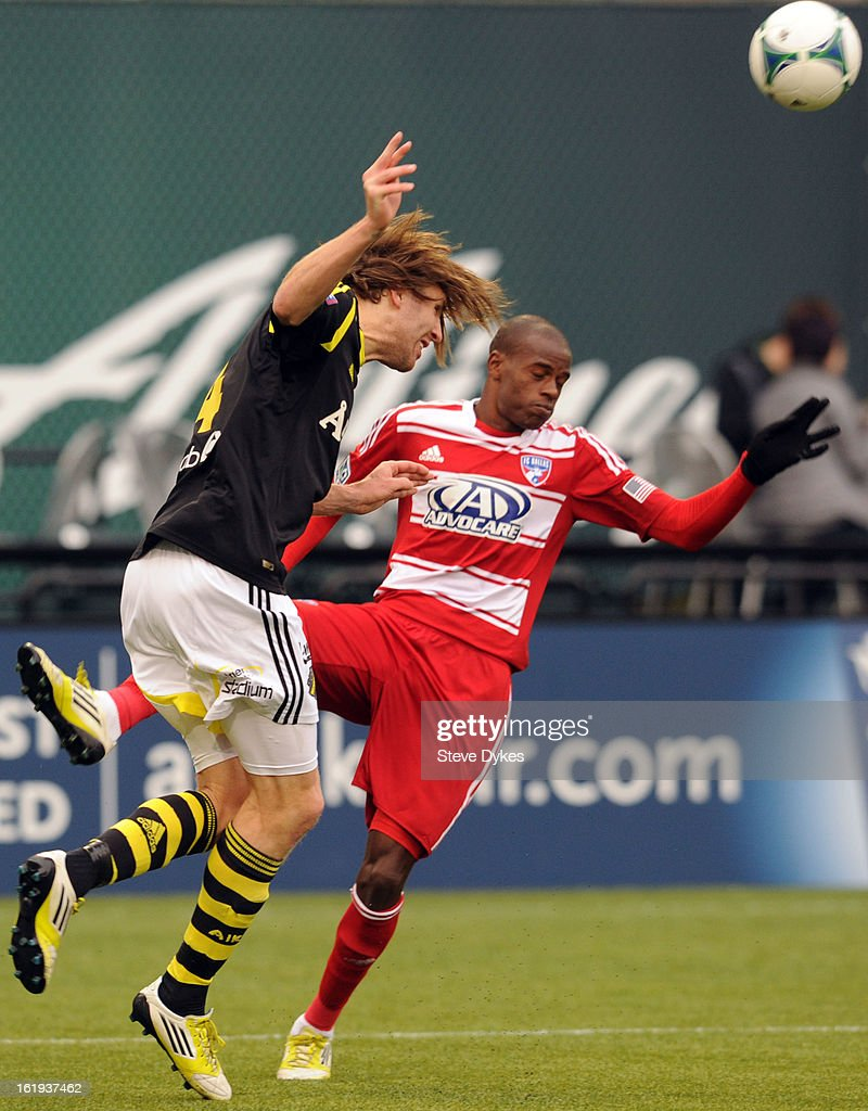 Jackson #6 of FC Dallas battles for the ball with Nils -Eric Johansson #4 of AIK during the second half of the game at Jeld-Wen Field on February 17, 2013 in Portland, Oregon. The game ended in a 0-0 draw.