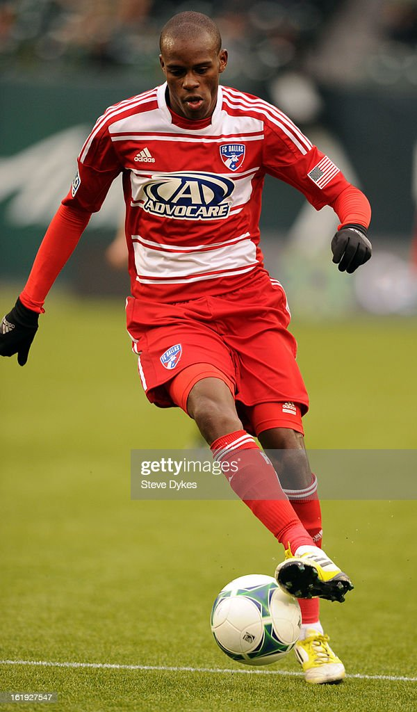 Jackson #6 of FC Dallas brings the ball up the field during the second half of the game against AIK at Jeld-Wen Field on February 17, 2013 in Portland, Oregon. The game ended in a 0-0 draw.