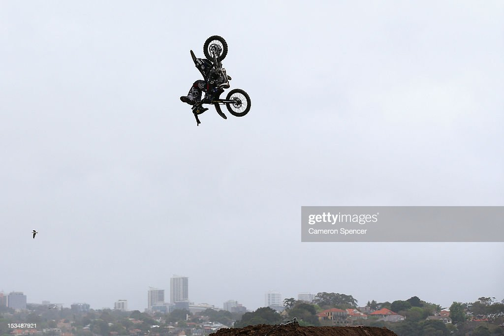 Jackson Strong of Australia competes in the Red Bull X-Fighters Moto Cross at Cockatoo Island on October 6, 2012 in Sydney, Australia.