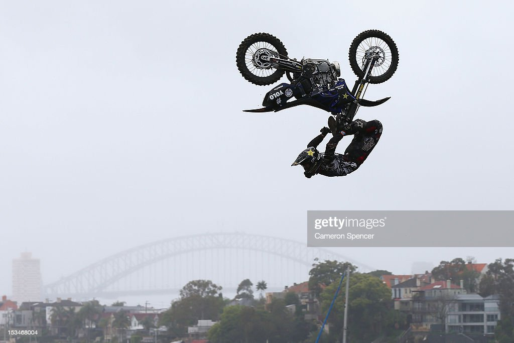 Jackson Strong of Australia jumps during training for the Red Bull X-Fighters Moto Cross at Cockatoo Island on October 6, 2012 in Sydney, Australia.