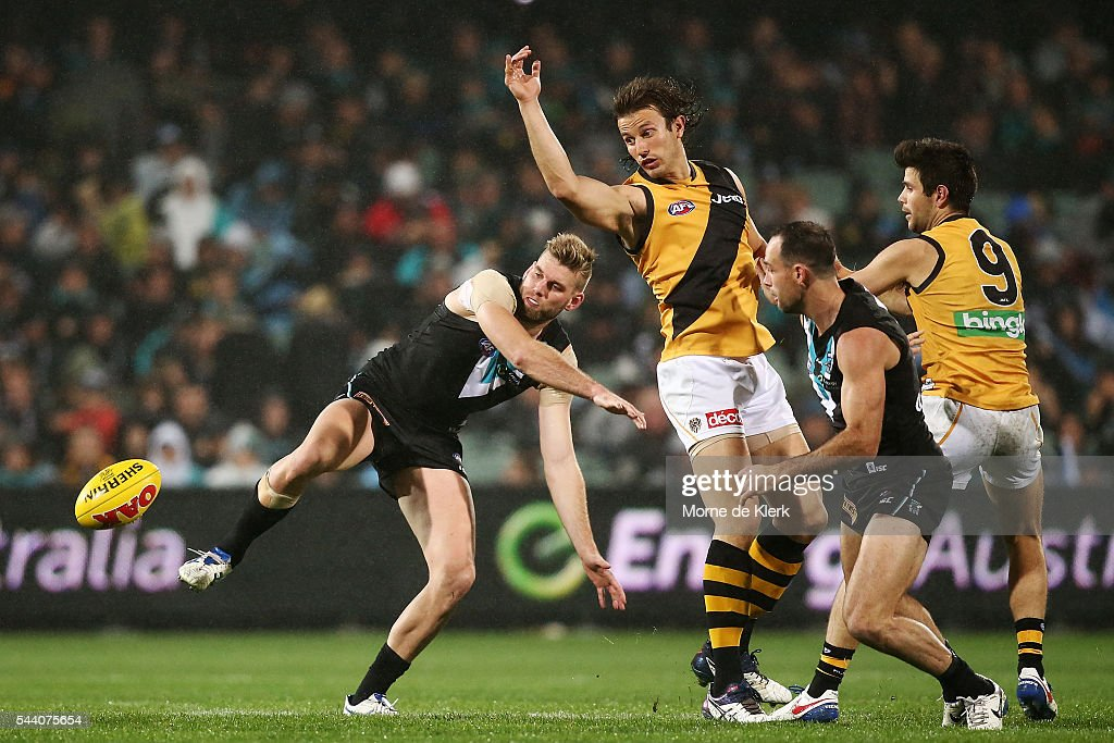 Jackson Trengove of the Power competes in the ruck with Ivan Maric of the Tigers during the round 15 AFL match between the Port Adelaide Power and the Richmond Tigers at Adelaide Oval on July 1, 2016 in Adelaide, Australia.