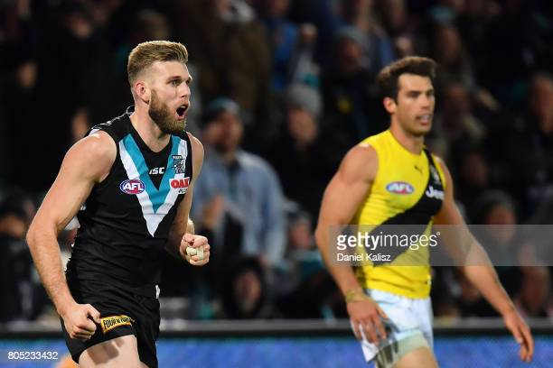 Jackson Trengove of the Power reacts after kicking a goal as Alex Rance of the Tigers looks on during the round 15 AFL match between the Port...