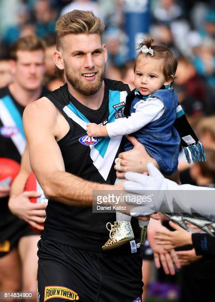 Jackson Trengove of the Power walks out onto the ground during the round 17 AFL match between the Port Adelaide Power and the North Melbourne...