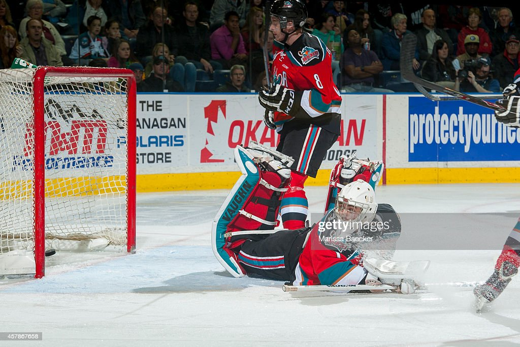 Jackson Whistle #1 of Kelowna Rockets allows a goal by the Brandon Wheat Kings during the second period on October 25, 2014 at Prospera Place in Kelowna, British Columbia, Canada.