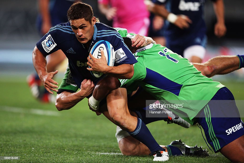 Jackson Willison of the Blues makes a break during the round eight Super Rugby match between the Blues and the Highlanders at Eden Park on April 5, 2013 in Auckland, New Zealand.