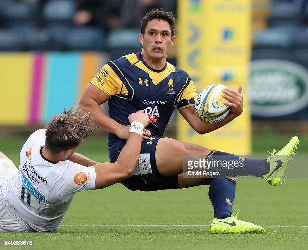 Jackson Willison of Worcester is tackled by Josh Bassett during the Aviva Premiership match between Worcester Warriors and Wasps at Sixways Stadium...
