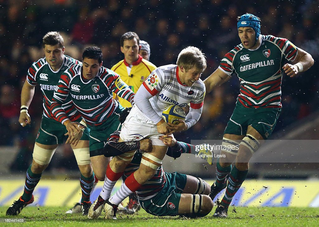 Jackson Wray of Saracens is caught by the Leicester defence during the Aviva Premiership match between Leicester Tigers and Saracens at Welford Road on February 23, 2013 in Leicester, England.