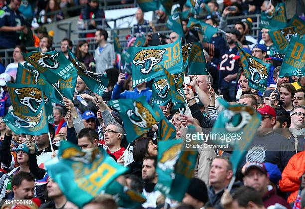 Jacksonville Jaguar fans make noise during the NFL match between Jacksonville Jaguars and Buffalo Bills at Wembley Stadium on October 25 2015 in...