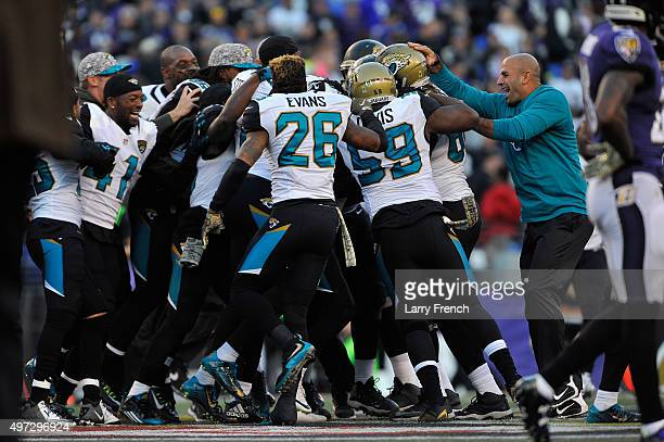 Jacksonville Jaguars celebrate their victory over Baltimore Ravens at MT Bank Stadium on November 15 2015 in Baltimore Maryland The Jaguars defeated...
