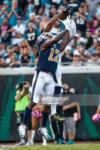 Jacksonville Jaguars cornerback AJ Buoye breaks up a pass intended for Los Angeles Rams wide receiver Sammy Watkins during the game between the Los...