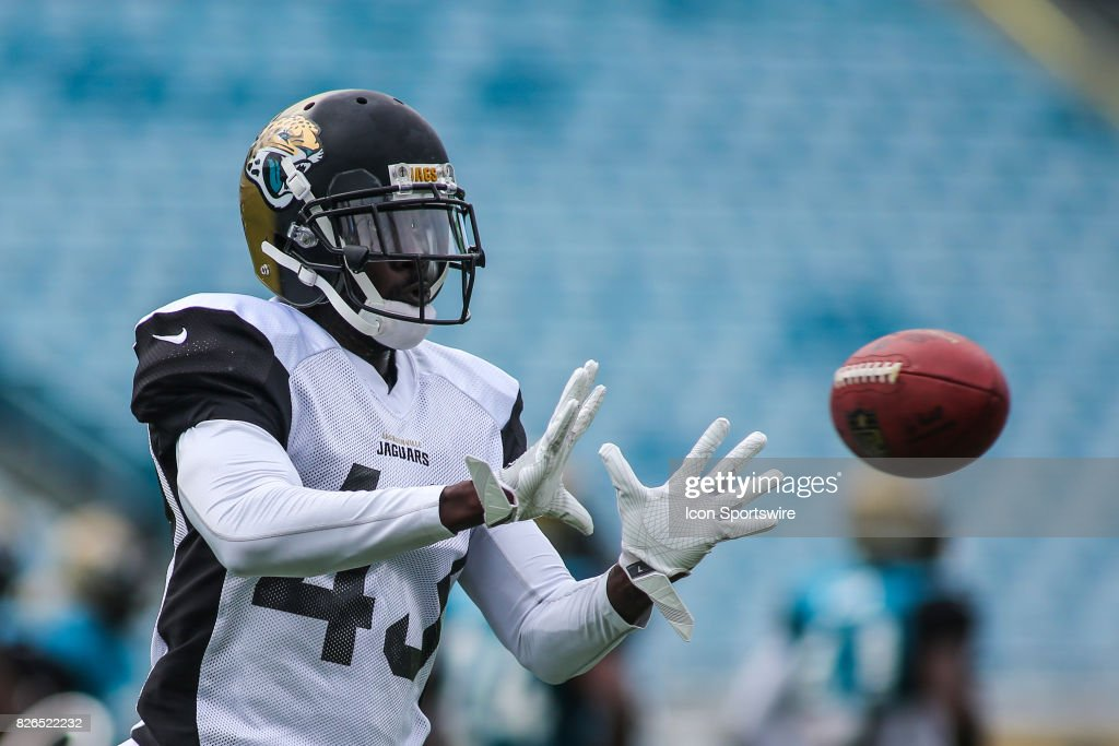 Jacksonville Jaguars cornerback Charles Gaines (43) catches a ball during the Jaguars training camp on August 4, 2017 at Everbank Field in Jacksonville, Fl.