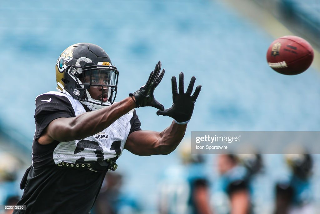 Jacksonville Jaguars cornerback Jalen Myrick (31) catches a ball during the Jaguars training camp on August 4, 2017 at Everbank Field in Jacksonville, Fl.
