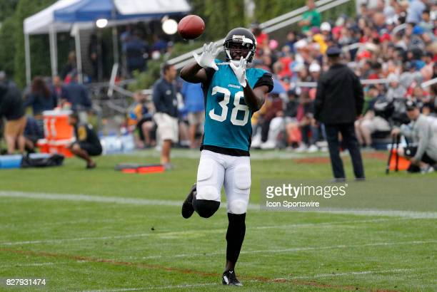 Jacksonville Jaguars cornerback Stanley JeanBaptiste eyes the ball during a joint New England Patriots and Jacksonville Jaguars training camp on...