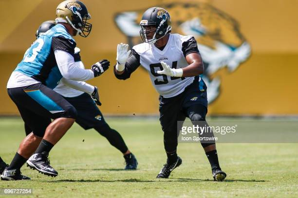 Jacksonville Jaguars defensive end Dawuane Smoot works out during minicamp at the Jaguars Practice Facility on June 15 2017 in Jacksonville Fl