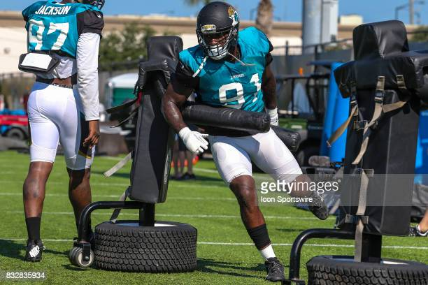 Jacksonville Jaguars defensive end Yannick Ngakoue works a practice dummy during the Jaguars joint practice with the Tampa Bay Buccaneers on August...