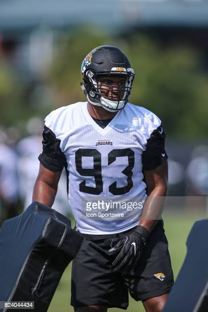 Jacksonville Jaguars defensive lineman Calais Campbell looks on during the Jaguars training camp on July 28 2017 at Florida Blue Health and Wellness...