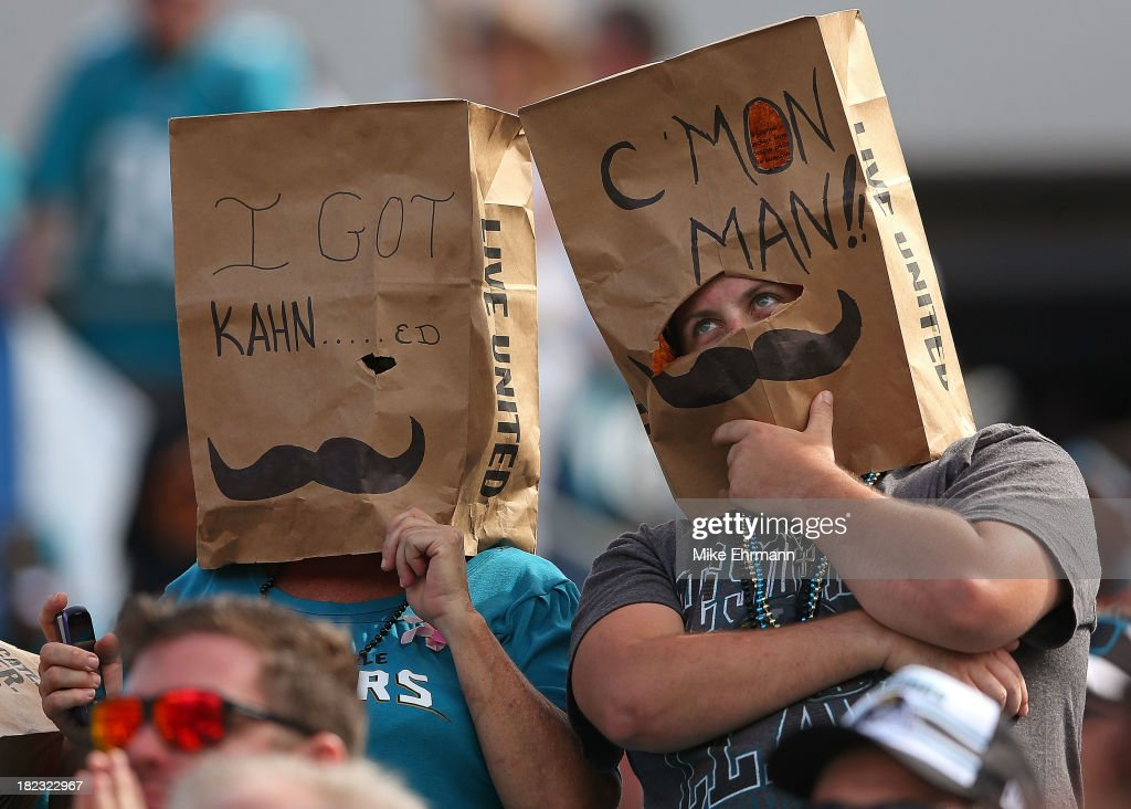 Jacksonville Jaguars fans react to losing during a game against the Indianapolis Colts at EverBank Field on September 29, 2013 in Jacksonville, Florida.