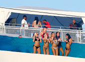 Jacksonville Jaguars fans watch the action from the stadium pool during the preseason NFL game against the Atlanta Falcons at EverBank Field on...