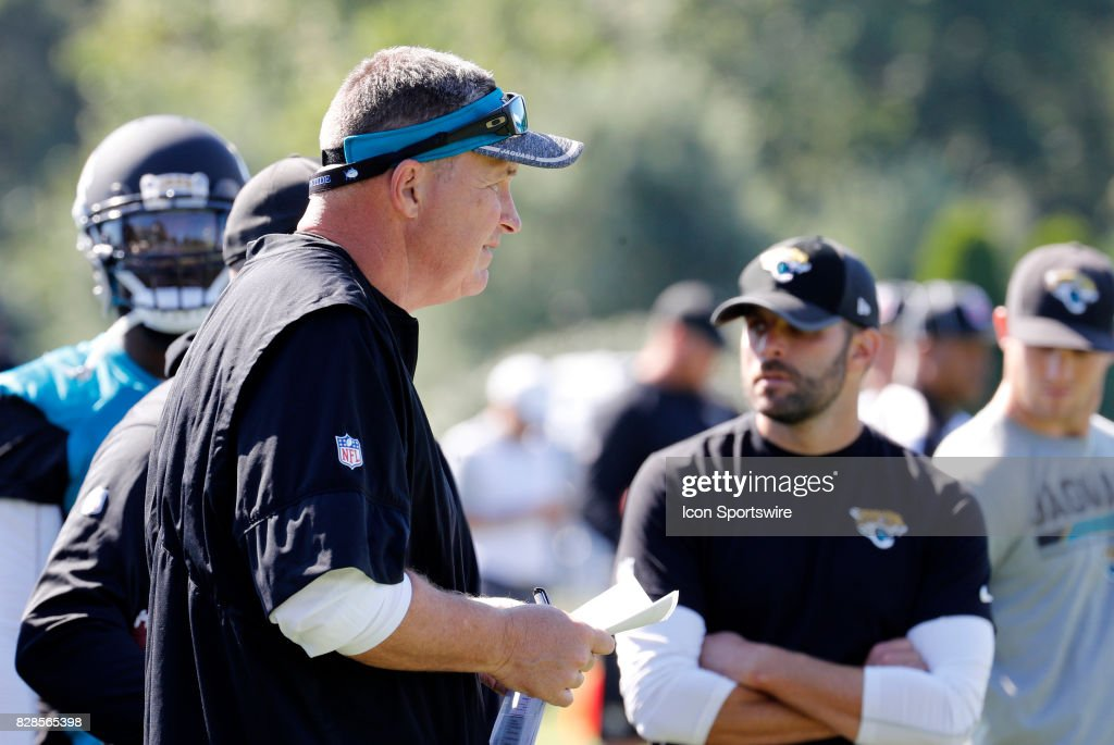 Jacksonville Jaguars head coach Doug Marrone during a joint New England Patriots and Jacksonville Jaguars training camp on August 9, 2017, at Gillette Stadium in Foxborough, Massachusetts.