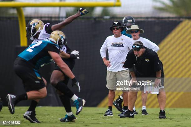 Jacksonville Jaguars head coach Doug Marrone watches a play during the Jaguars training camp on July 27 2017 at the Florida Blue Health and Wellness...