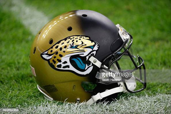 Jacksonville Jaguars helmet is seen on the field during the game between the Jaguars and the Houston Texans at NRG Stadium on December 28 2014 in...