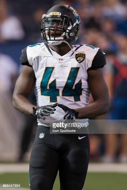 Jacksonville Jaguars linebacker Myles Jack watches a video replay during the NFL game between the Jacksonville Jaguars and Indianapolis Colts on...
