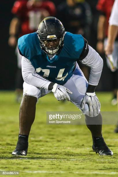 Jacksonville Jaguars offensive lineman Cam Robinson gets ready for a play during the Jaguars training camp on July 29 2017 at Florida Blue Health and...