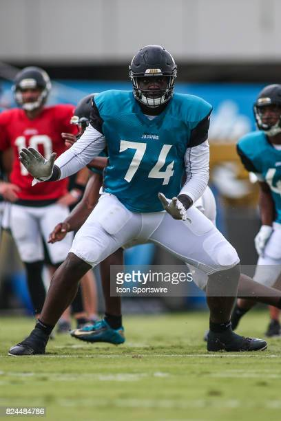 Jacksonville Jaguars offensive lineman Cam Robinson practices during the Jaguars training camp on July 29 2017 at Florida Blue Health and Wellness...