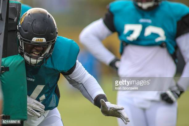 Jacksonville Jaguars offensive lineman Cam Robinson works out during the Jaguars training camp on July 29 2017 at Florida Blue Health and Wellness...