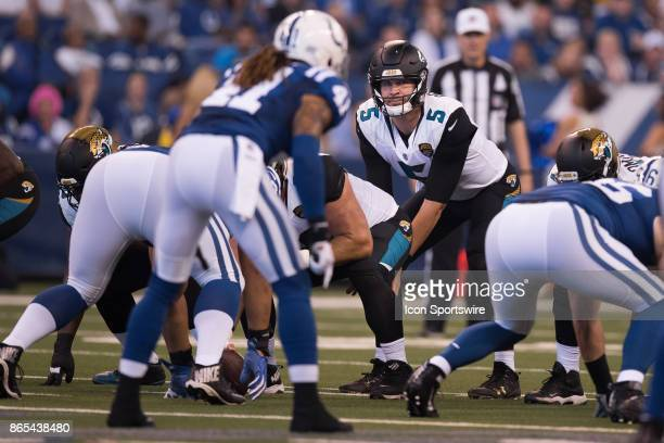 Jacksonville Jaguars quarterback Blake Bortles looks across the line towards Indianapolis Colts safety Matthias Farley during the NFL game between...
