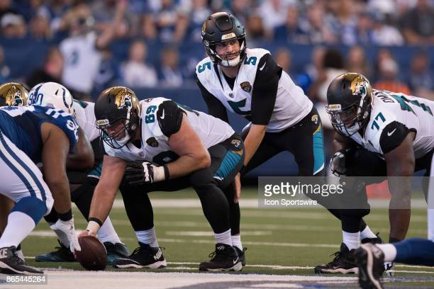 Jacksonville Jaguars quarterback Blake Bortles looks down the line of scrimmage during the NFL game between the Jacksonville Jaguars and Indianapolis...