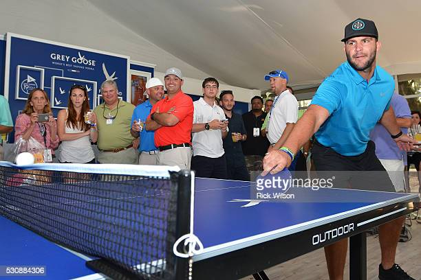 Jacksonville Jaguars quarterback Blake Bortles takes a break from offseason workouts to play ping pong and mingle inside the Grey Goose The Oasis...